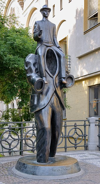 Franz Kafka monument, next to the Spanish synagogue Kafka statue Prague.jpg