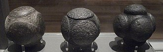Carved stone balls - Three Scottish examples, in Kelvingrove Art Gallery and Museum, Glasgow