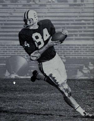 Kent Kramer - Kramer in endzone after 60-yard touchdown, 1964