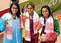 Kimiko Raheem (SRI LANKA) won Gold Medal, Machiko Raheem (SRI LANKA) won Silver Medal and Shivani Kataria (INDIA) won Bronze Medal in Women's 100m Freestyle Swimming, at the 12th South Asian Games-2016, in Guwahati.jpg
