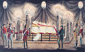 1839 in Denmark - King Frederick VI lying on lit de parade