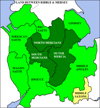 Religion in Mercia - Expansion of the Kingdom of Mercia: dark green 6th century; green 7th century; yellow 8th century.