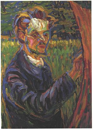 Erich Heckel - Erich Heckel painting at the easel – portrait by Ernst Ludwig Kirchner