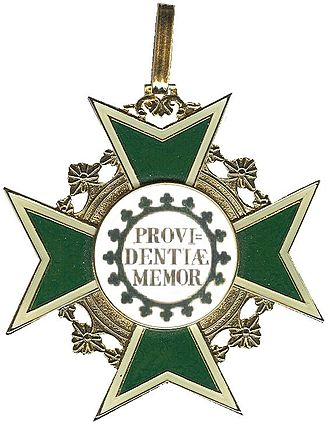 Order of the Rue Crown - Image: Kleinood Rautenkrone groen emaille