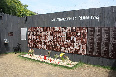 The relatives and helpers of Czech resistance fighters Jan Kubis and Josef Valcik executed en masse on October 24, 1942 Koncentracni tabor Mauthausen Praha 2012 7934.JPG