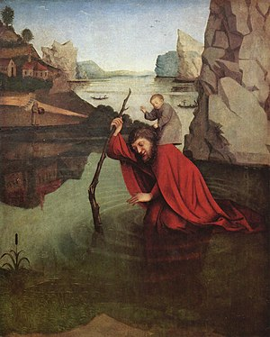 Konrad Witz - Saint Christopher by Konrad Witz (c. 1435), at the Kunstmuseum, Basel