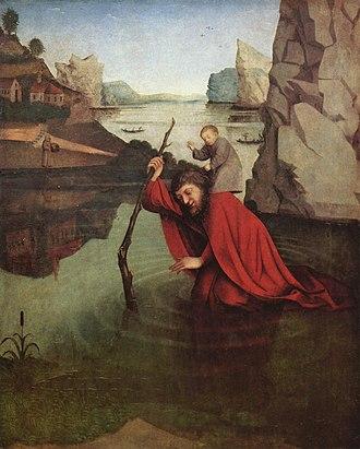 Konrad Witz - Saint Christopher by Konrad Witz (c. 1435), at the Kunstmuseum, Basel