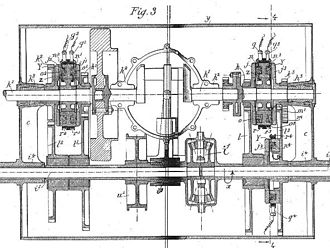 Arthur Constantin Krebs - Electromagnetic gearbox from Krebs's car patent of 1896