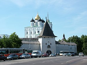 Pskov Krom - The Krom (or Kremlin) in Pskov, Russia,with the Trinity Cathedral in the background