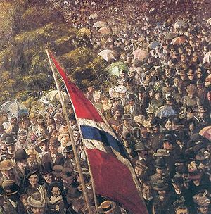 Norwegian Constitution Day - 17th of May 1893 by Norwegian painter Christian Krohg (1852–1925). The flag does not have the Union badge of Norway and Sweden, the so-called sildesalaten (Herring salad).