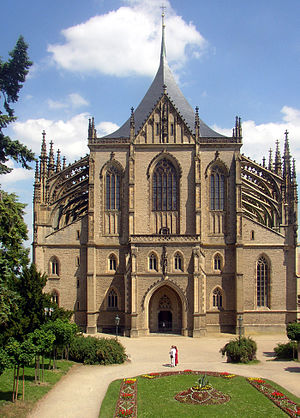 St. Barbara's Church, Kutná Hora - Image: Kutna Hora CZ St Barbara Cathedral front view 02