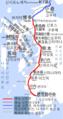 Kyushu Shinkansen map Kagoshima route and Nagasaki route Korean Ver.png