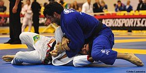 North–south position - A Brazilian Jiu Jitsu practitioner works north south position in tournament