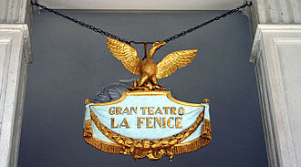 La Fenice - Emblem hanging in the entrance to the opera house