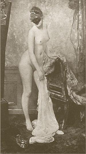 Camille du Gast - La Femme au Masque by Henri Gervex 1885 – Parisienne mannequin Marie Renard wearing a Domino mask