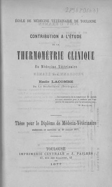 File:Lacombe - Contribution à l'étude de la thermométrie clinique en médecine vétérinaire.djvu