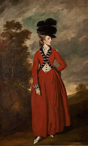 Seymour Fleming - A painting (1775/6) by Joshua Reynolds of Lady Worsley in a riding habit adapted from the uniform of her husband's regiment; now at Harewood House
