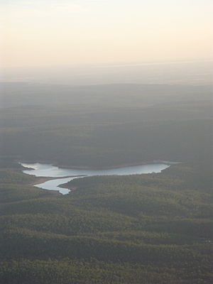 Mundaring Weir - Lake C. Y. O'Connor from the air, looking southwest