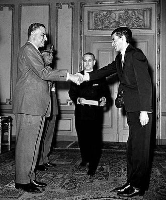 Lakhdar Brahimi - Brahimi (right) as the Algerian Ambassador to Egypt, shaking hands with Gamal Abdel Nasser, the Egyptian President, after presenting his credentials to the president, April 1963
