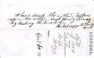 Wyatt Earp - A Lamar, Missouri, subpoena signed by Constable Wyatt Earp on February 28, 1870