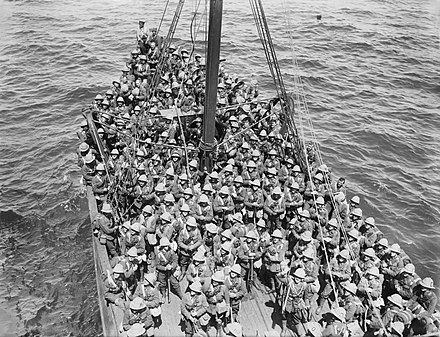 Fusiliers of the 125th Brigade, 42nd (East Lancashire Division), about to land and go into battle at Gallipoli, May 1915. Lancashire Fusiliers boat Gallipoli May 1915.jpg