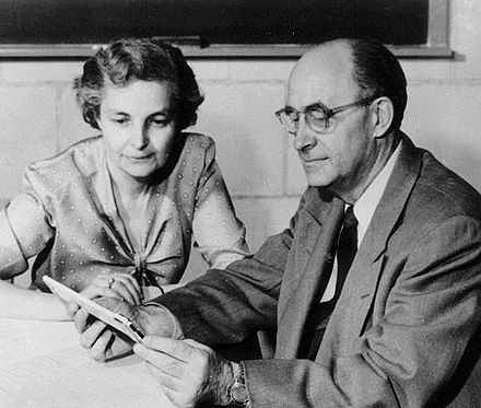 Laura and Enrico Fermi at the Institute for Nuclear Studies, Los Alamos, 1954 Laura and Enrico Fermi 1954.jpg