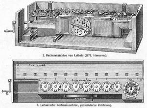 Stepped reckoner - Drawing of a stepped reckoner from 1897 Meyers Konversations-Lexikon, showing a 12-digit version