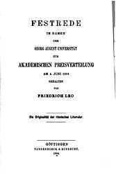 Die Originalität der römischen Litteratur