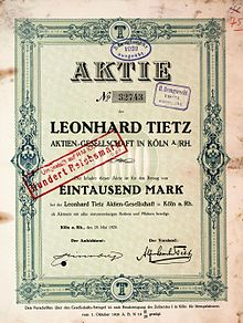 998a95a37f6f1 Aktie über 1000 Mark der Leonhard Tietz AG vom 28. Mai 1920. Kaufhof in Bonn