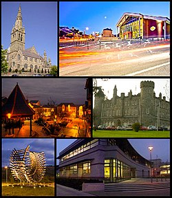 From top, left to right: St Eunan's Cathedral, An Grianán Theatre, Market Square, St Eunan's College, Polestar Roundabout, Letterkenny Institute of Technology.