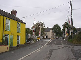 St Clears - Level crossing; the former St Clears station was on the right.