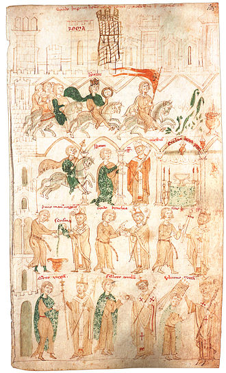 Liber ad honorem Augusti - The enthronement of emperor Henry VI, an illumination from the Liber ad honorem Augusti, 1197