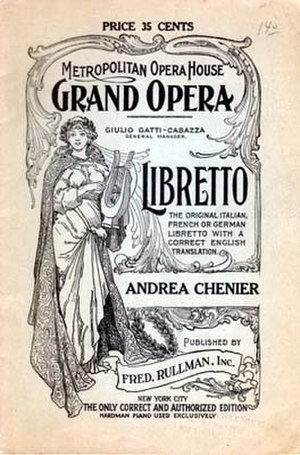 Libretto - Cover of a 1921 libretto for Giordano's Andrea Chénier