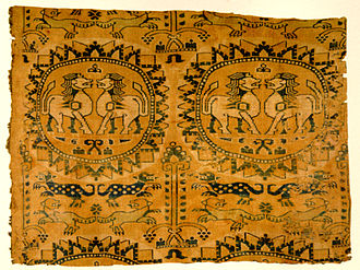 History of Central Asia - A lion motif on Sogdian polychrome silk, 8th century AD, most likely from Bukhara