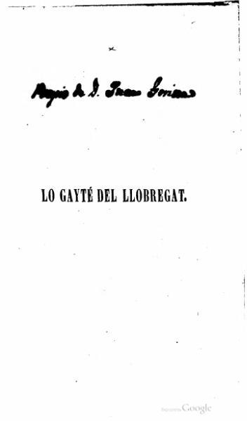 File:Lo gayté del Llobregat. Poesias de Don Joaquim Rubiò y Ors (1841).djvu