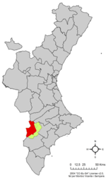 Location of Villena in the Valencian Community