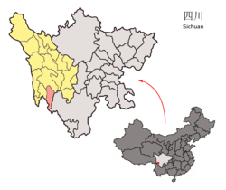 Daocheng County (red) within Garzê Prefecture (yellow) and Sichuan