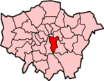 Southwark shown within Greater London