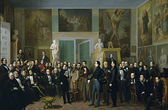 Antonio María Esquivel - Contemporary poets gathered in Esquivel's studio (1846). The participants are identified on the painting's page at Wikimedia Commons