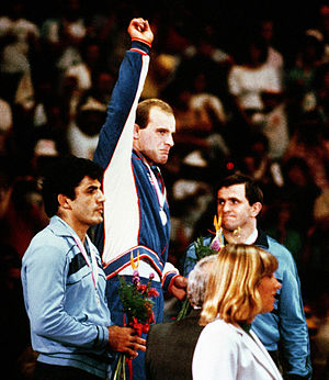 Wrestling at the 1984 Summer Olympics - From left to right: Joseph Atiyeh, Lou Banach and Vasile Pușcașu.