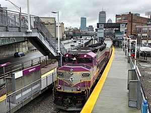 Yawkey (MBTA station) - An inbound train arrives at Yawkey in March 2014