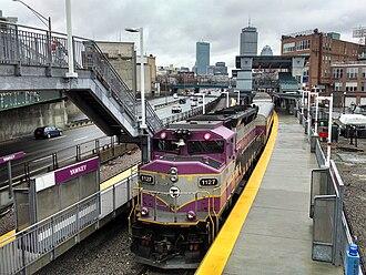 Yawkey (MBTA station) - An inbound train arrives at Yawkey in March 2014
