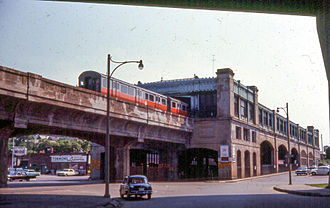 Washington Street Elevated - An Orange Line train arriving at Forest Hills in June 1967