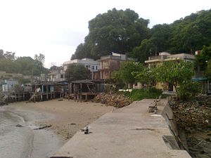 Ma Wan - The vacated Ma Wan Main Street Village aka. Ma Wan Town in 2011, viewed from the breakwater of the typhoon shelter.