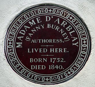 Bolton Street, London - Madame D'Arblay (Fanny Burney) brown plaque