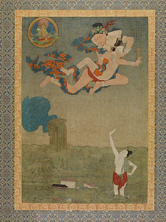 Mahasiddha - Mahasiddha Ghantapa, from Situ Panchen's set of thangka depicting the Eight Great Tantric Adepts. 18th century