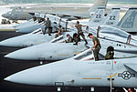 Maintenance personnel and flight crews from the 18th Tactical Fighter Wing preflight some of the squadron's F-15 Eagle aircraft during Exercise Giant Warrior '89 DF-ST-90-10771.jpg