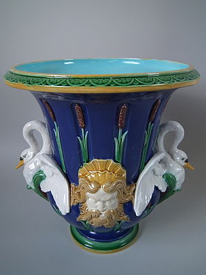 Victorian majolica - Minton majolica vase, designed by Carrier-Belleuse, plain and colored lead glazes on buff 'biscuit'
