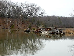 Mallows Bay - A shipwreck at Mallows Bay, February 2011