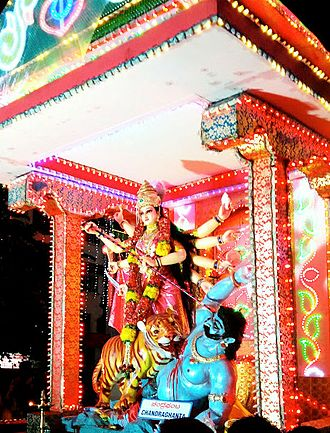 Chandraghanta - Idol of Chandraghanta on tableaux during the Mangalore Dasara procession.